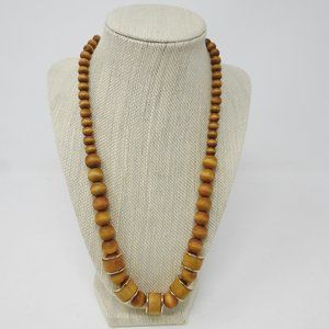 Jewelry - Wooden Necklace Single String with Gold Adjustable